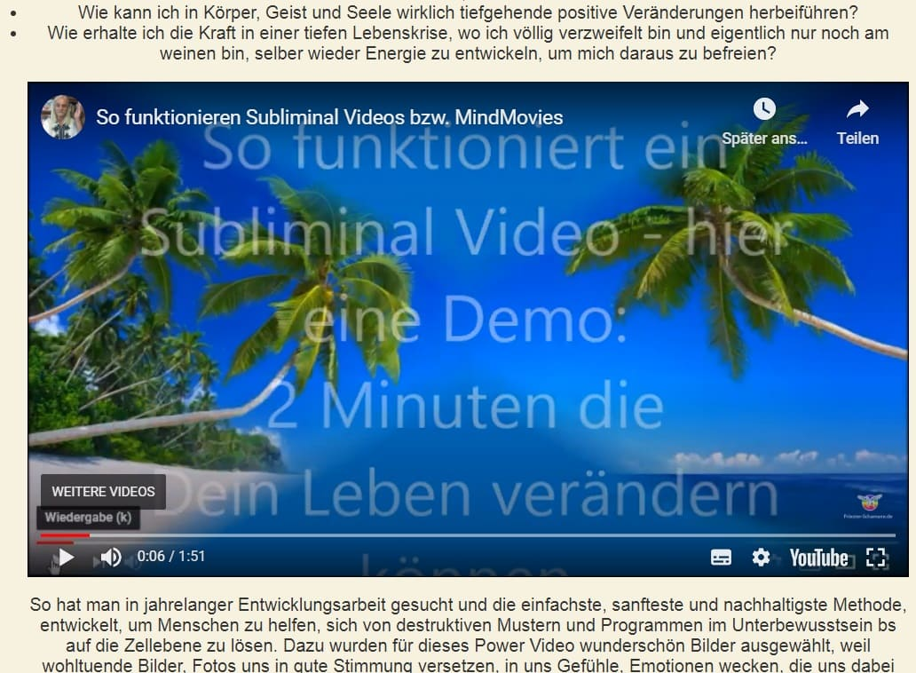 Gratis Demo Subliminal Power Video